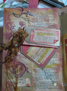 Page with cross charm and highlighted scriptures on tags